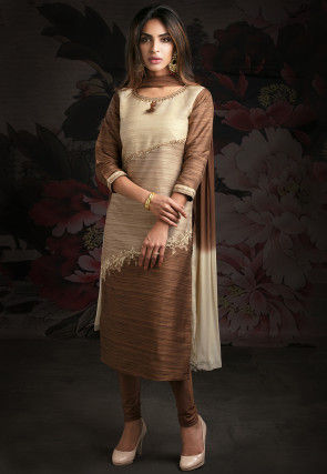 Embroidered Cotton Slub Straight Suit in Beige and Brown