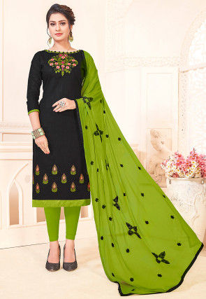 Embroidered Cotton Slub Straight Suit in Black
