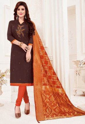 Embroidered Cotton Slub Straight Suit in Brown