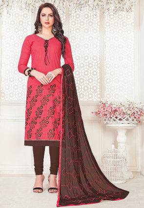 Embroidered Cotton Slub Straight Suit in Coral Pink