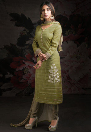 Embroidered Cotton Slub Straight Suit in Olive Green
