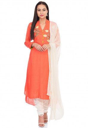 Embroidered Cotton Slub Straight Suit in Orange