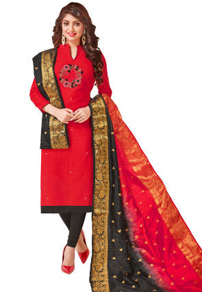 Embroidered Cotton Slub Straight Suit in Red