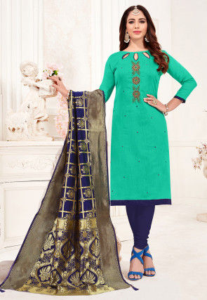 Embroidered Cotton Slub Straight Suit in Teal Green