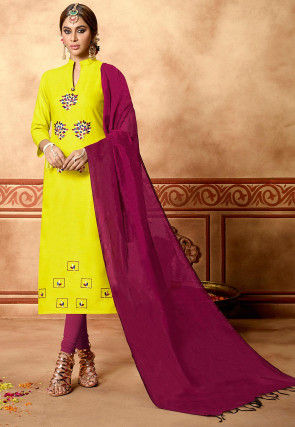 Embroidered Cotton Slub Straight Suit in Yellow