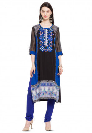 Embroidered Cotton Straight Kurta in Black and Blue