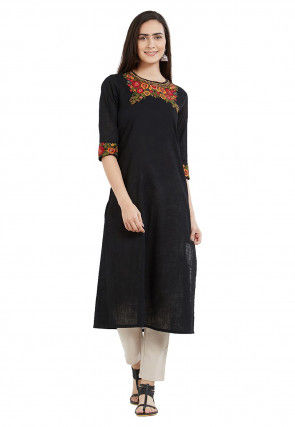 Embroidered Cotton Straight Kurta in Black