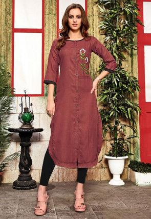 Embroidered Cotton Straight Kurta in Brown