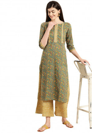 Embroidered Cotton Straight Kurta in Dusty Green