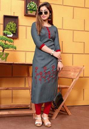 Embroidered Cotton Straight Kurta in Grey