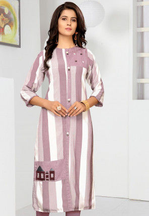 Embroidered Cotton Straight Kurta in Light Purple and White