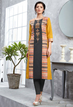 Embroidered Cotton Straight Kurta in Mustard and Multicolor
