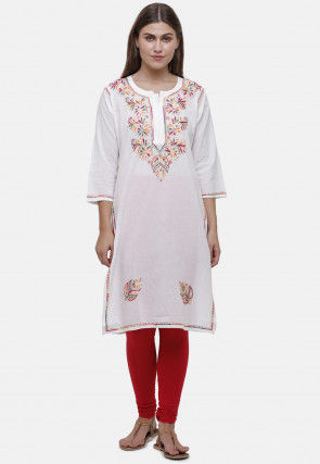 Embroidered Cotton Straight Kurta in Off White
