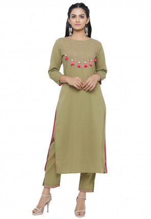 Embroidered Cotton Straight Kurta in Olive Green