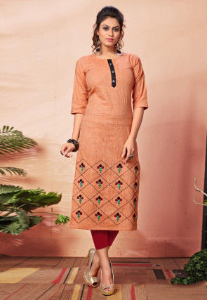 Embroidered Cotton Straight Kurta in Orange