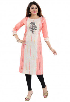 Embroidered Cotton Straight Kurta in Peach and Off White