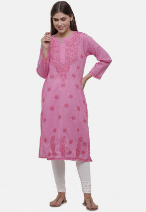 Embroidered Cotton Straight Kurta in Pink