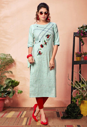 Embroidered Cotton Straight Kurta in Sea Green