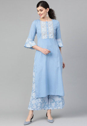 Embroidered Cotton Straight Kurta in Sky Blue