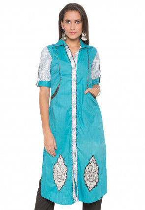 Embroidered Cotton Straight Kurta in Turquoise and Off White
