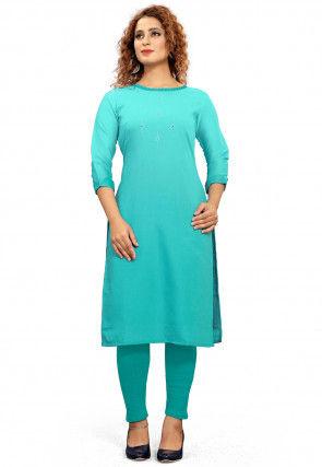 Embroidered Cotton Straight Kurta in Turquoise