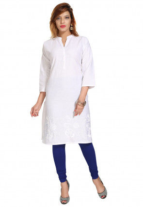 Embroidered Cotton Straight Kurta in White