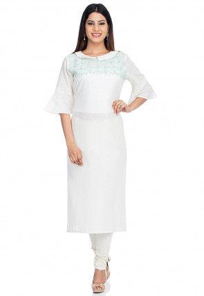 Embroidered Cotton Straight Kurta in White