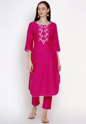 Embroidered Cotton Straight Kurta Set in Fuchsia
