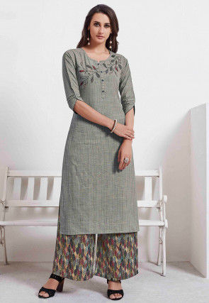 Embroidered Cotton Straight Kurta Set in Grey