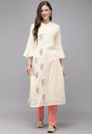 Embroidered Cotton Straight Kurta Set in Light Yellow