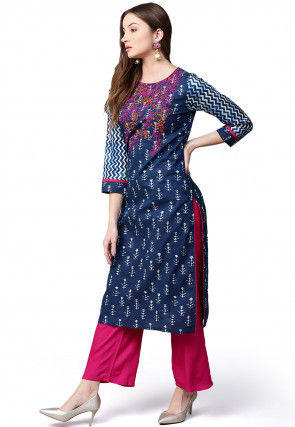Embroidered Cotton Straight Kurta Set in Navy Blue