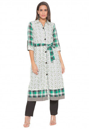 Embroidered Cotton Straight Kurta Set in Off White and Green