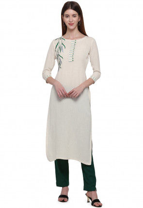 Embroidered Cotton Straight Kurta Set in Off White
