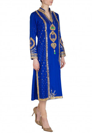 Embroidered Cotton Straight Kurta Set in Royal Blue