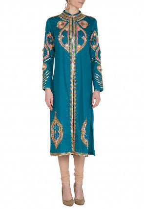 Embroidered Cotton Straight Kurta Set in Teal Blue