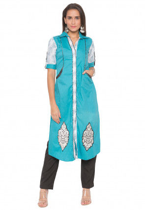 Embroidered Cotton Straight Kurta Set in Turquoise and Off White