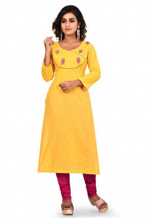Embroidered Cotton Straight Kurta Set in Yellow