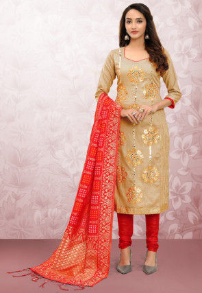 Embroidered Cotton Straight Suit in Beige