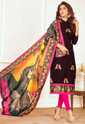 Embroidered Cotton Straight Suit in Black