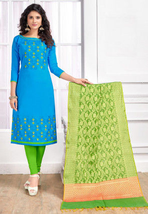 Embroidered Cotton Straight Suit in Blue