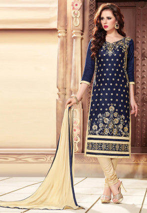 Embroidered Cotton Straight Suit in Dark Blue