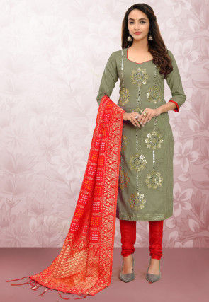 Embroidered Cotton Straight Suit in Dusty Green
