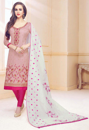 Embroidered Cotton Straight Suit in Dusty Pink