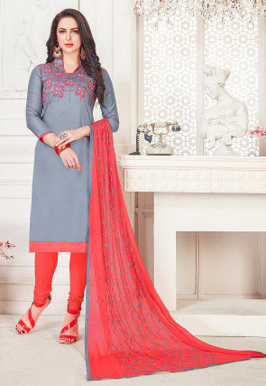 Embroidered Cotton Straight Suit in Grey