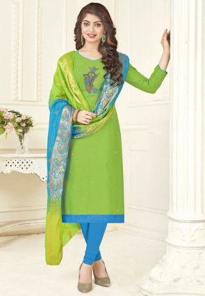 Embroidered Cotton Straight Suit in Light Green