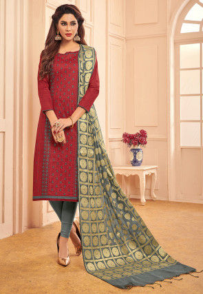 Embroidered Cotton Straight Suit in Maroon