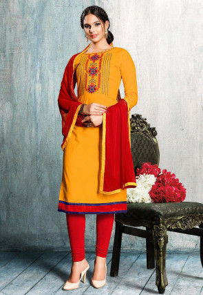 Embroidered Cotton Straight Suit in Mustard