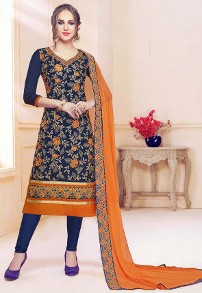 Embroidered Cotton Straight Suit in Navy Blue