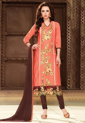 Embroidered Cotton Straight Suit in Orange