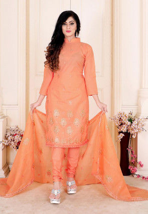 Embroidered Cotton Straight Suit in Pastel Orange